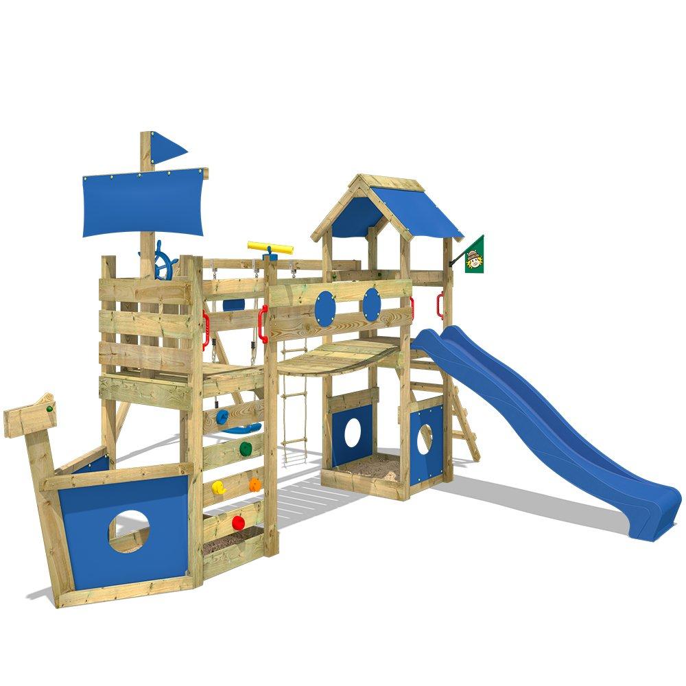 WICKEY Spielturm StormFlyer Kletterturm in Schiffsoptik mit Rutsche Schaukel Sandkasten und Kletterwand, blaue Rutsche + blaue Plane