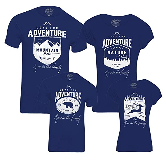 65479019 Bon Organik Love for Adventure Runs in The Pack of 4 Family Matching Cotton  Combo Family t Shirts/Combo tees Family/Family Matching t-Shirts/Family ...