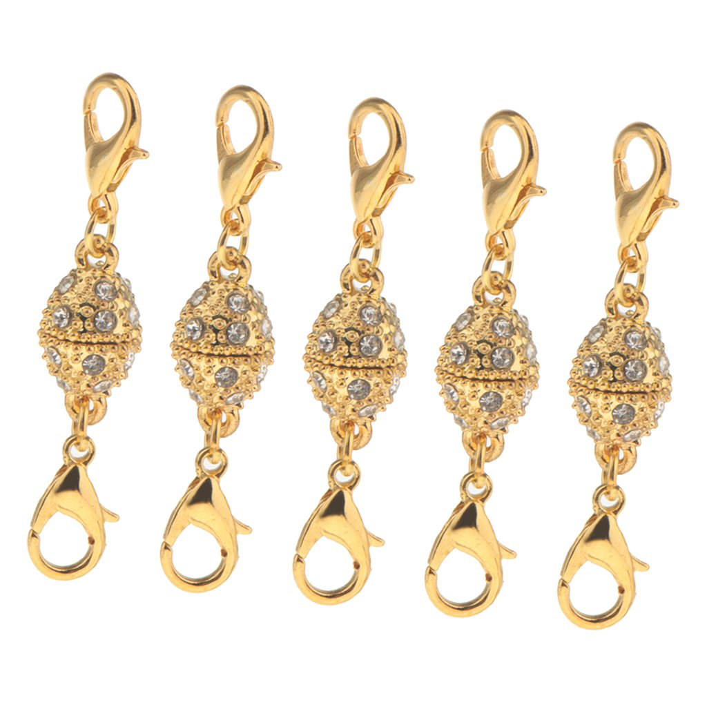 10pcs Oval Full Crystal Ball Magnetic Buckle Both Sides Lobster Hook Clasp
