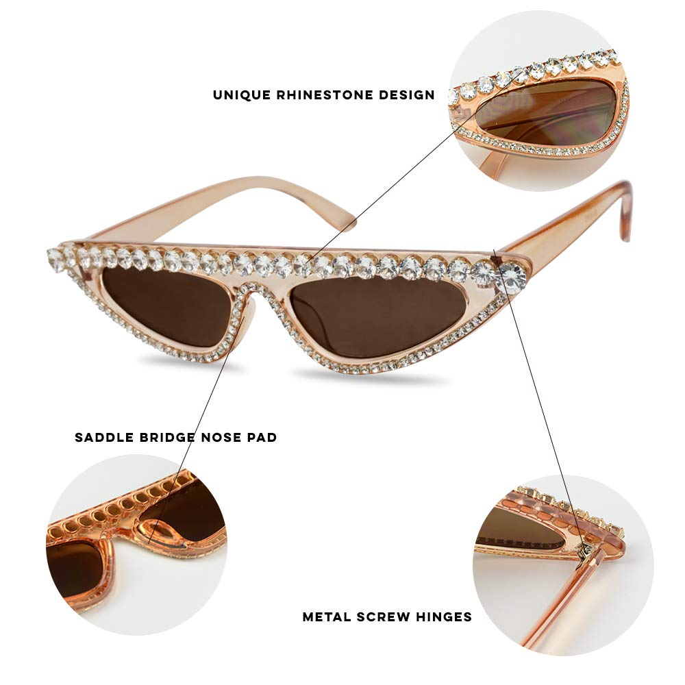 fdab5f7d9e91 Amazon.com  Womens Luxury Diamond Sunglasses Small x Narrow Cat Eye Large  Studded Rhinestones Frame Glasses
