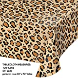 "Creative Converting 329660 TABLECOVER PL 54"" X 108"" AOP LEOPARD PRINT, 54 x 108, Multicolor"