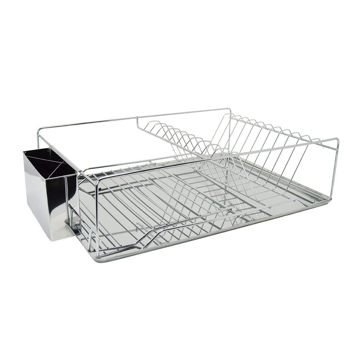 "Sweet Home Collection Dish Drainer Drying Rack 1 Tier Basic Set Drain Board and Utensil Holder Simple Easy to Use, 12"" x 19"" x 5"", Chrome"