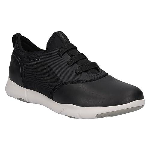 Geox D Nebula C, Zapatillas para Mujer, Negro (White/Black), 39 EU