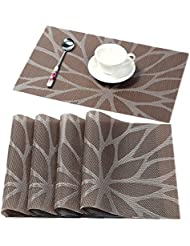 HEBE Placemats For Dining Table Washable Placemat Set Of 4 Heat Resistant  Woven Vinyl Kitchen Table
