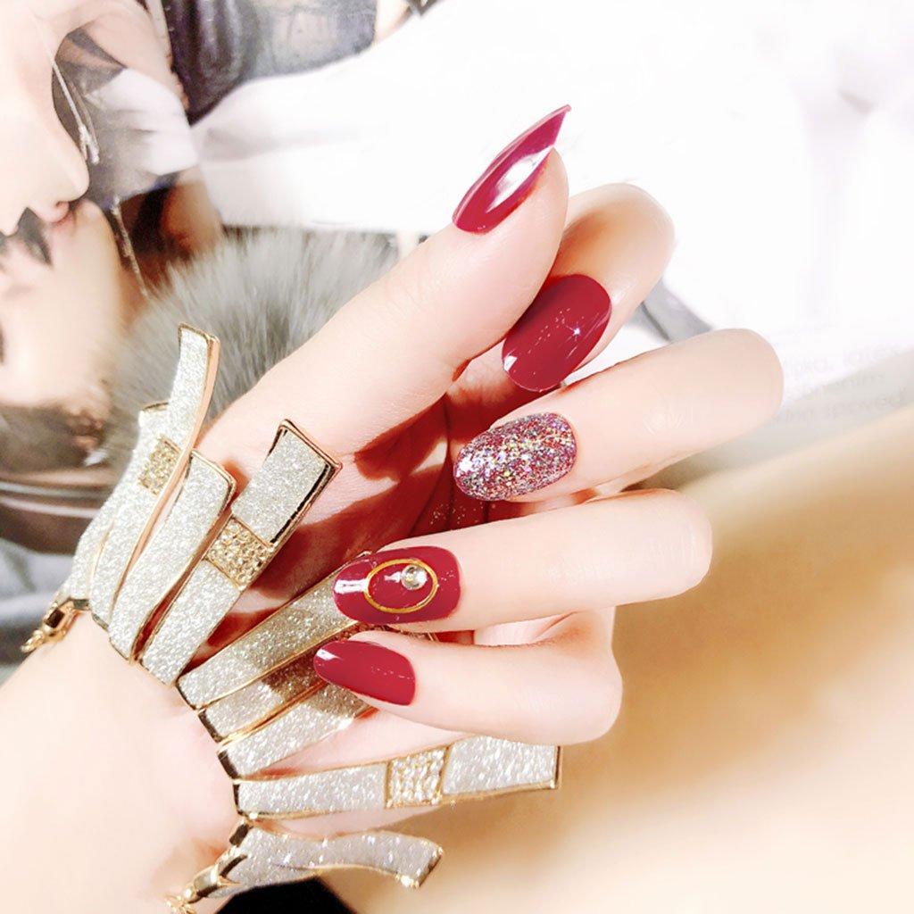 Ruda 24 pcs DIY rojo Glitter falso uñas Consejos conjunto francés uñas postizas falso arte dl34 longitud completa protectora completa falso uñas para ...