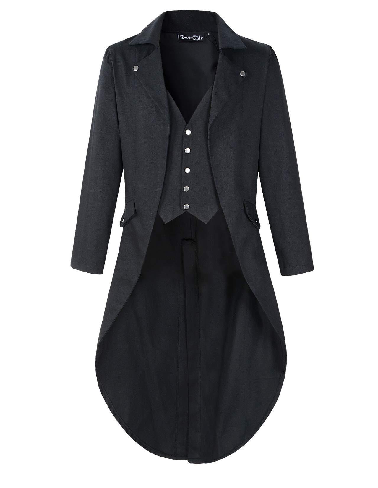 DarcChic Mens Gothic Tailcoat Jacket Black Steampunk VTG Victorian Coat (XL, Black) by DarcChic