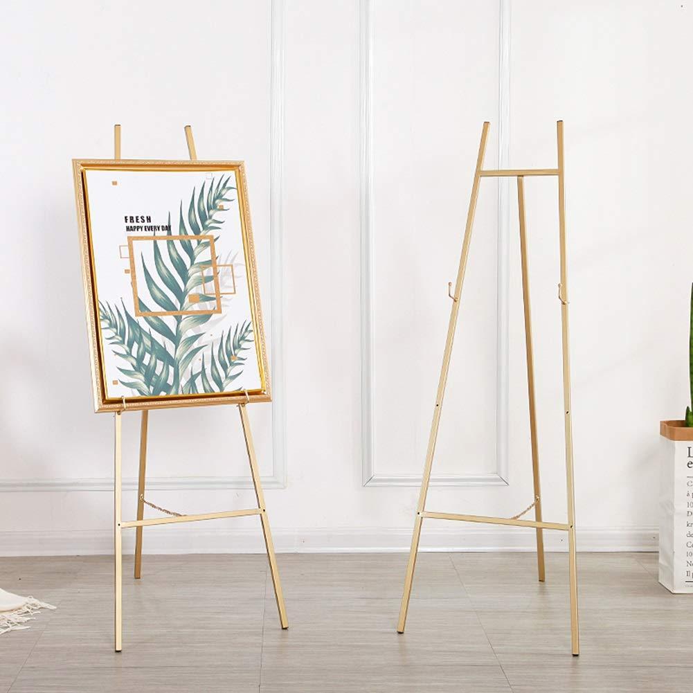 Color : Gold Chevalet en m/étal pr/ésentoir et pr/ésentoir de plancher /à hauteur r/églable ajustable /à 3 dossiers pour tableaux de mariage peinture