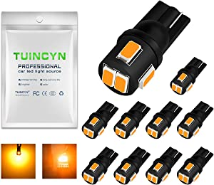 TUINCYN T10 194 168 LED Bulbs 6000K Extremely Bright 2825 175 921 912 Socket Interior LED Bulbs Amber Yellow Side Markers License Plate Light Dashboard Light 2W 12V 450 Lumens 5630 6SMD (10pcs)
