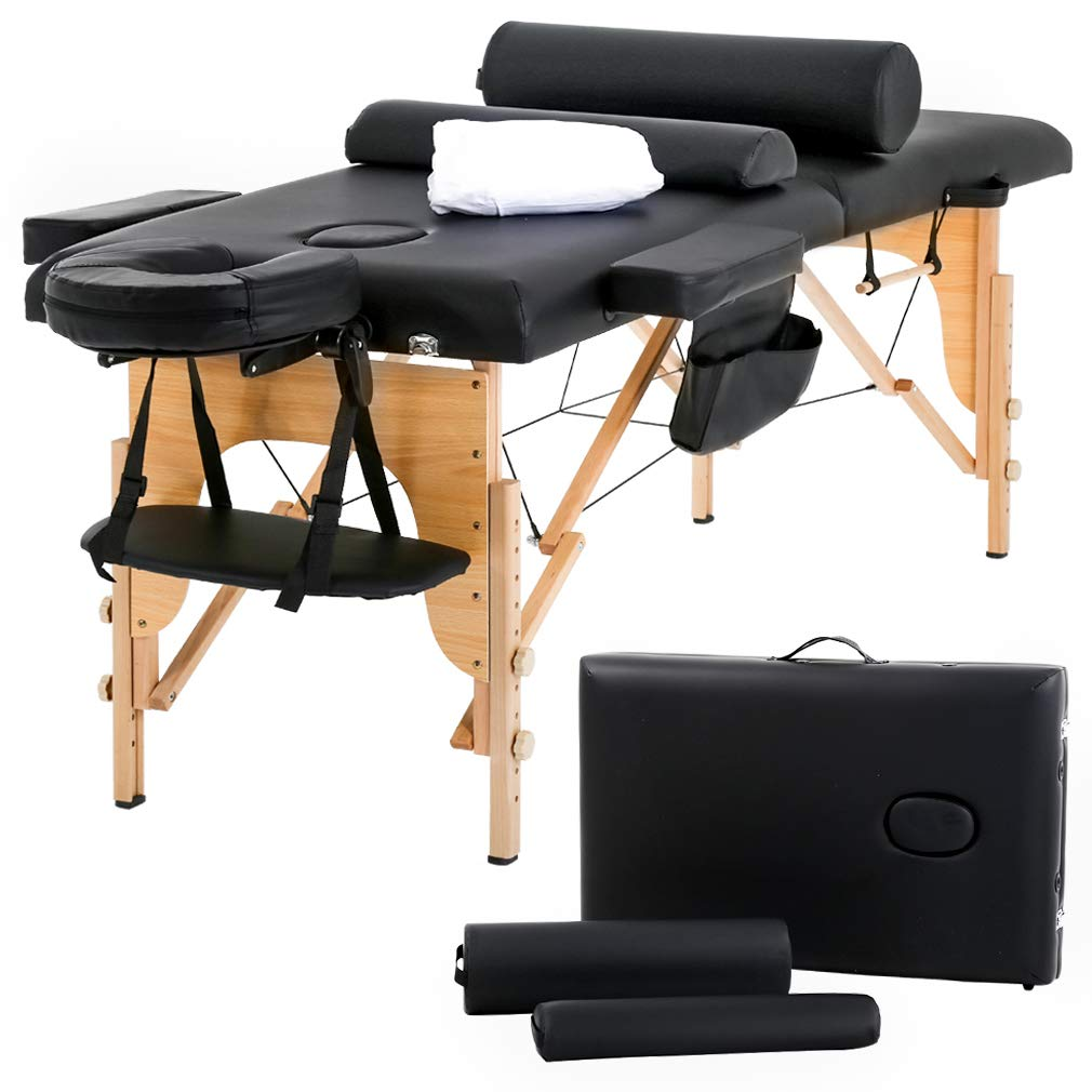 Massage Table Massage Bed Spa Bed 73'' Heigh Adjustable 2 Folding Portable Massage Table W/Sheet Cradle Bolsters Hanger Facial Salon Bed by BestMassage