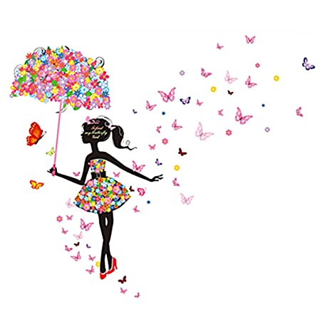 Uxcell umbrella butterfly flower girl removable vinyl diy wall art sticker