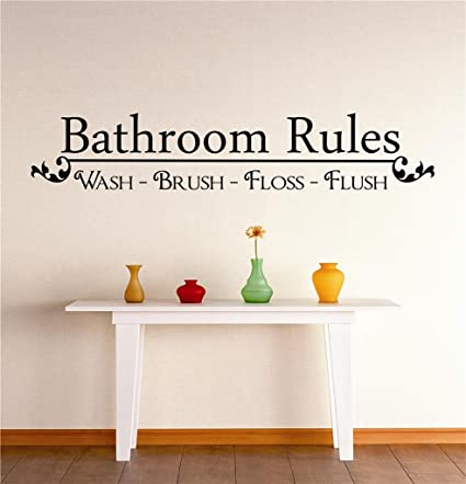 Peel Stick Wall Decal Sticker Bathroom Rules Wash Brush Floss