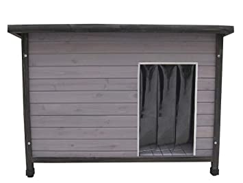 Madera de caseta con tejado plano, Gris barnizado, incluye colgante Tapa