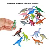 "24-Piece Set of Mini 3"" Plastic Dinosaurs! Assorted Colors & Styles! Great Fundraiser, Party Favor, & Carnival Prize!"