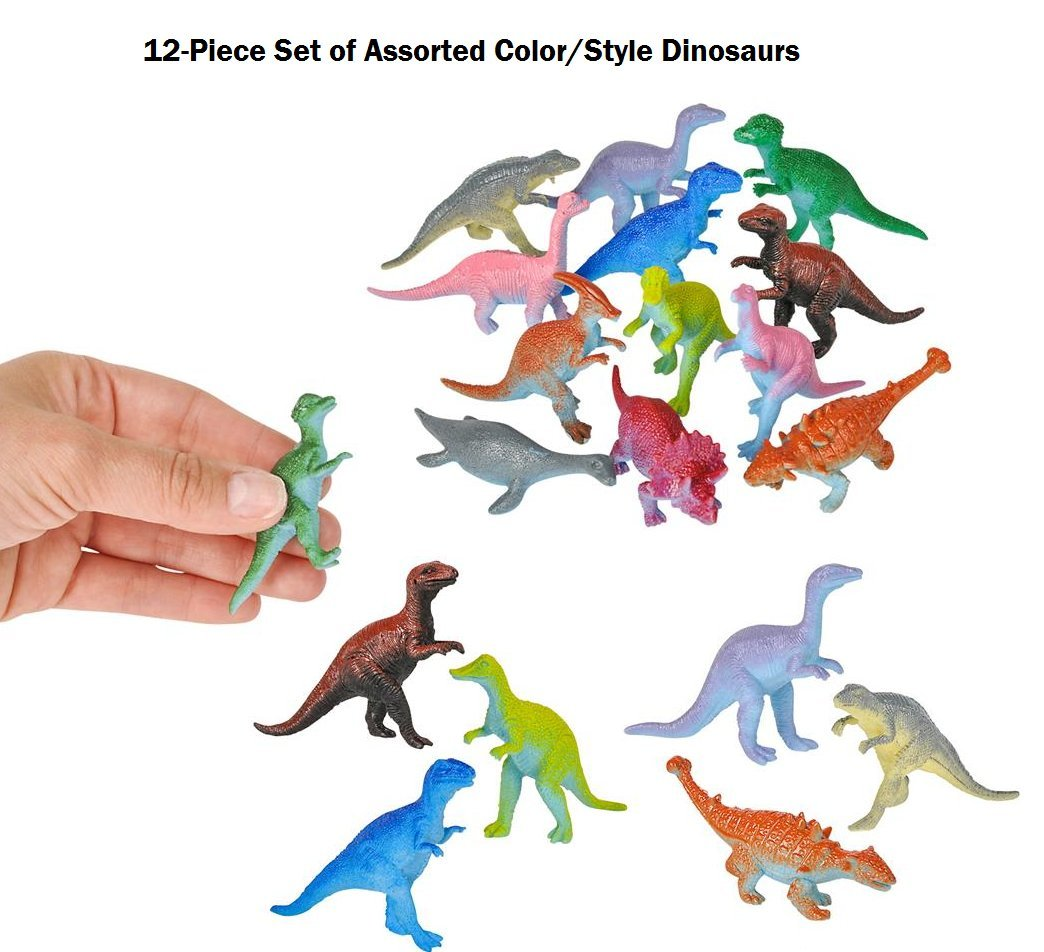 Party Favor BooBooLaLa 24-Piece Set of Mini 3 Plastic Dinosaurs /& Carnival Prize Assorted Colors /& Styles Great Fundraiser