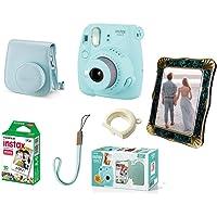 Kit Câmera Fujifilm Instax Mini 9 Azul Acqua + Bolsa + Filme + Porta-Retrato