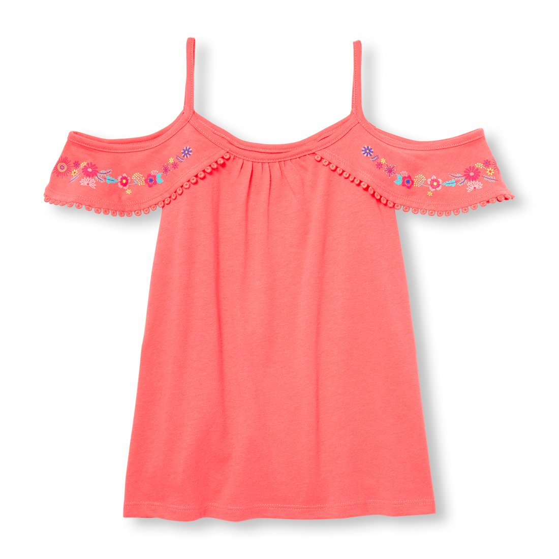 The Children's Place Big Girls' Short Sleeve Top, Lush Coral Neon 97753, XS (4)