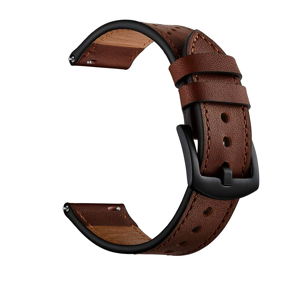 OXWALLEN 20mm Watch Band Quick Release Top Grain Leather Strap Replacements for Classic Watch Band Also fit Samsung Galaxy Watch 42mm & Gear S3 - Coffee