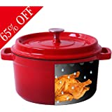 Shilucheng Enameled Cast Iron Dutch Ovens Covered Casserole, Dual Handles (5.8 QT, Red)