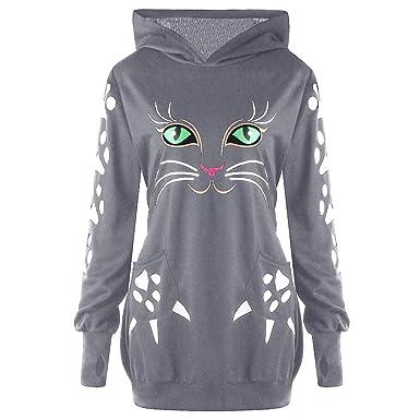 VECDY Camisa Casual De Mujer con Estampado De Gatos con Capucha Y ...