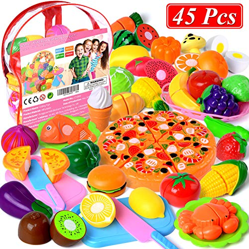 Cutting Toys, 45 PCS Play Cutting Food Kitchen Toy Cutting Fruits Vegetables Pretend Food Playset Early Development Learning Toy Gifts for Christmas for Toddlers Kids Boys Girls with Storage Bag