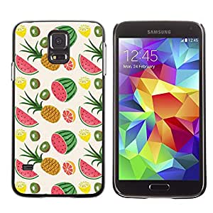For SAMSUNG Galaxy S5 V / i9600 / SM-G900F / SM-G900M / SM-G900A / SM-G900T / SM-G900W8,S-type® Pineapple Weed Fruit Pattern - Arte & diseño plástico duro Fundas Cover Cubre Hard Case Cover