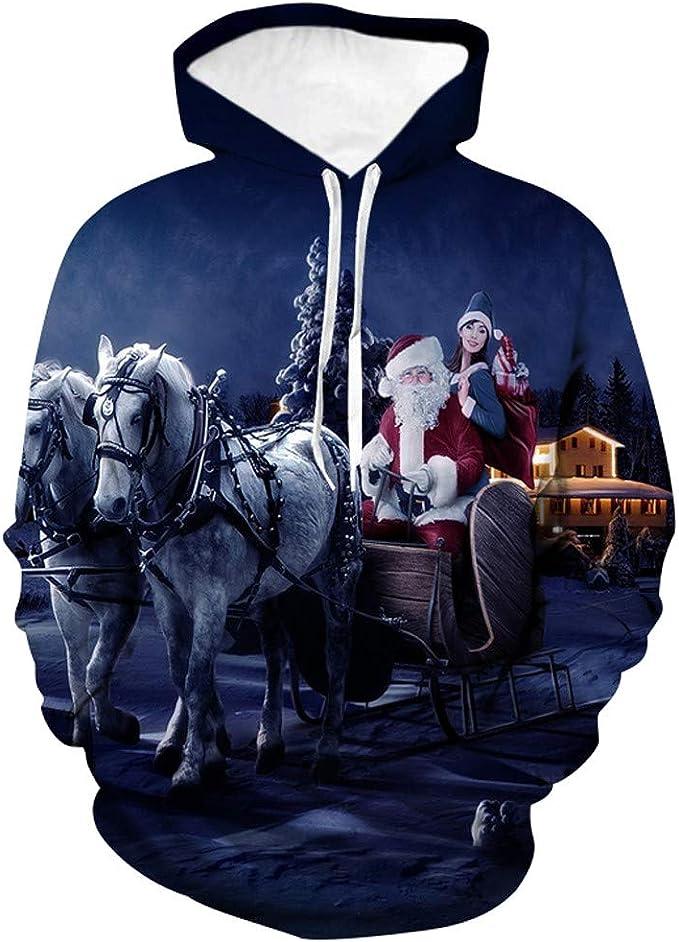 waotier Sudadera con Capucha Hombre Otoño Invierno Navidad Casual ...