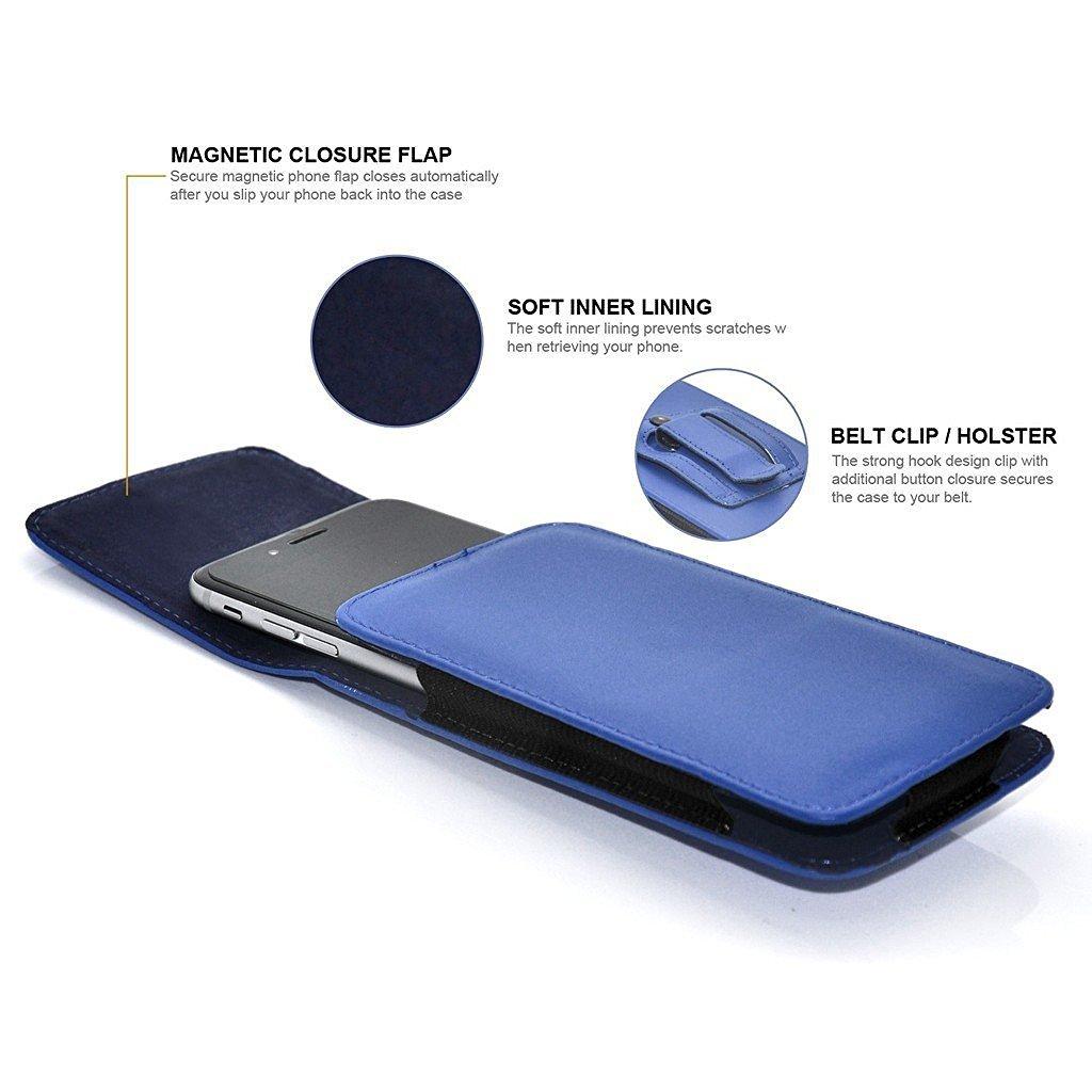 2017 ONX3/® Affaire Vertical Premium /étui de Ceinture en Faux Cuir Couvercle Pochette Noir de Carbone Nokia 3310