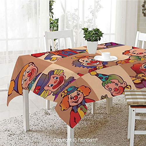 (AmaUncle 3D Dinner Print Tablecloths Funny Clowns Illustration Entertaining Childhood Artistic Joke Enjoyment Kitchen Rectangular Table Cover (W60)
