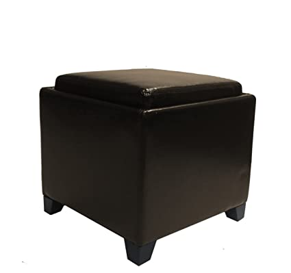 Ordinaire Plutus Contemporary Storage Ottoman With Tray, Brown