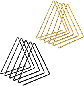 sorliva Triangle File Folder Racks,Newspaper Organizer Sorter,Magazine Holder,Book Racks ,Desktop Bookshelf ,Home Office Decor (Pack of 2,Black&Gold)