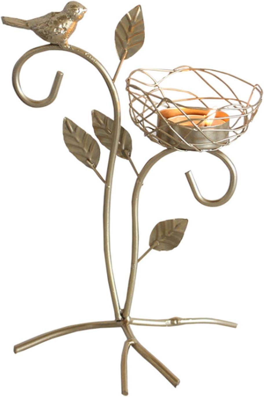 MOLECOLE Golden Bird Candle Holders, Vintage Home Decor Centerpiece Candle Stands, Tabletop Decorative TeaLight Candlestick, Iron Candelabrum