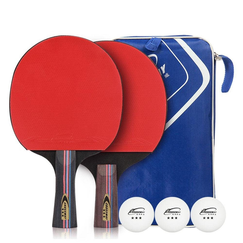 Prom-near Tischtennisschlä ger Tischtennis-Set 2 Premium Tischtennis Schlä ger 2 Premium Tischtennis Schlä ger & 3 Ü bungs Tischtennis Bä lle mit Tragetasche fü r im Freien Innen Sportaktivitä ten