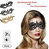 Masquerade Masks Sexy Lace Masks Halloween Mardi Gras Party Mask With Free Tattoo Sticker (Point-3 Pack)