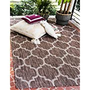 Unique Loom Outdoor Collection Casual Moroccan Lattice Geometric Brown Area Rug (4 x 6)