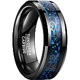 Vakki 指輪 メンズ リング タングステン 炭素繊維(ブルー) カーボンファイバー 唐草文 アラベスク 高級 平打ち 幅:8mm カラー:ブラック 超硬い