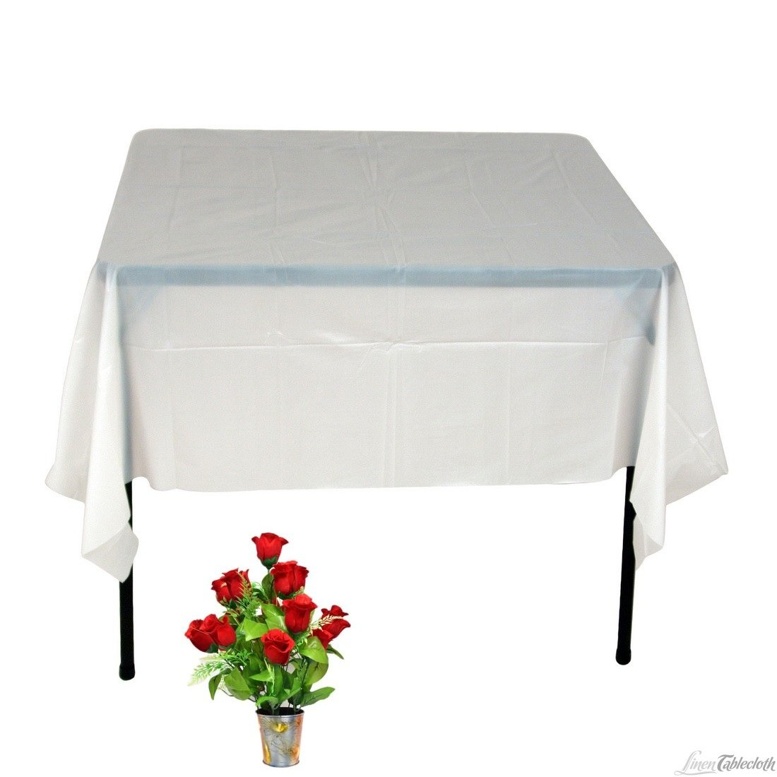 2 Pc OWS 36 X 36 Inch White Square Polyester Table Cloth Table CoverWedding Party Event