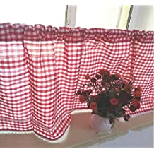 DOKOT American Country Style Checkered Kitchen Curtain, Cafe Curtain, Dining Room Curtain, Sunshine Valances (12 x 60 inches (30x150cm), Red)