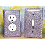 SET OF SILVERY PURPLE Glitter Switch Plate Outlet Covers ALL Styles Available!