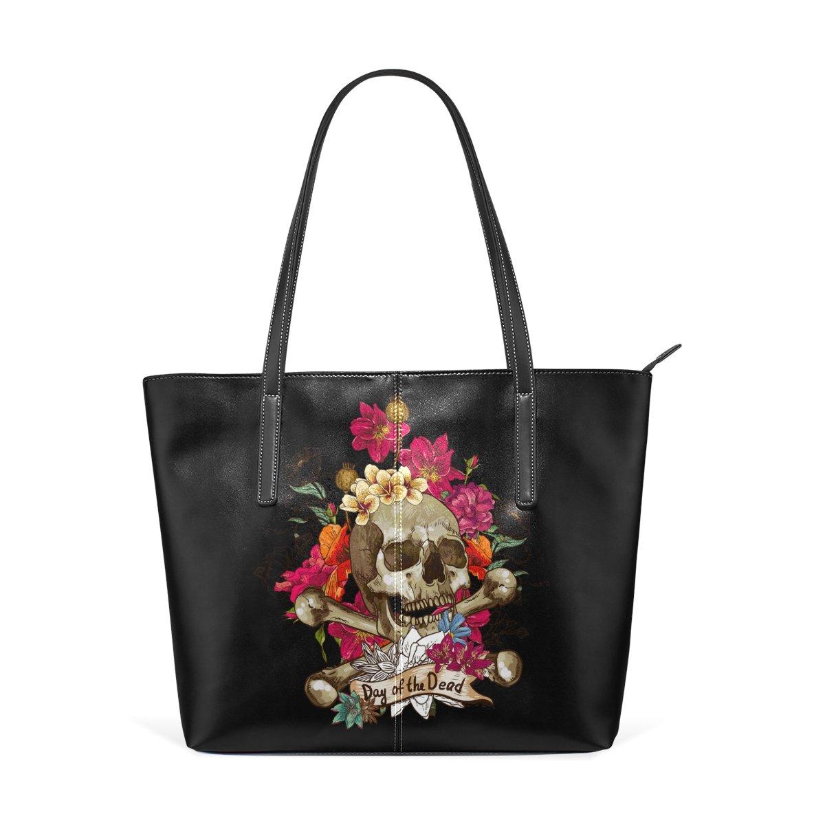 Skull Leather Top Handle Satchel Girl Shoulder Tote Bag for Girls Women