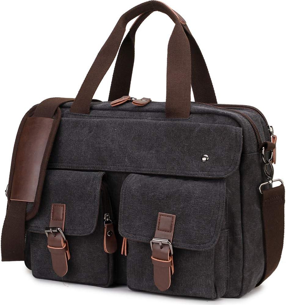 Messenger Bag,RAVUO Water Resistant Mens Laptop Briefcase Bag for 15.6 Inch Canvas Shoulder Bag Crossbody Bookbag