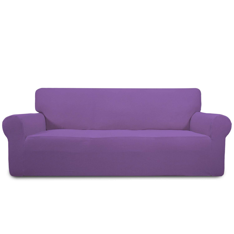 Easy-Going Stretch Sofa Slipcover 1-Piece Sofa Cover Furniture Protector Couch Soft with Elastic Bottom Anti-Slip Foam Spandex Jacquard Fabric Small Checks(Sofa,Purple)
