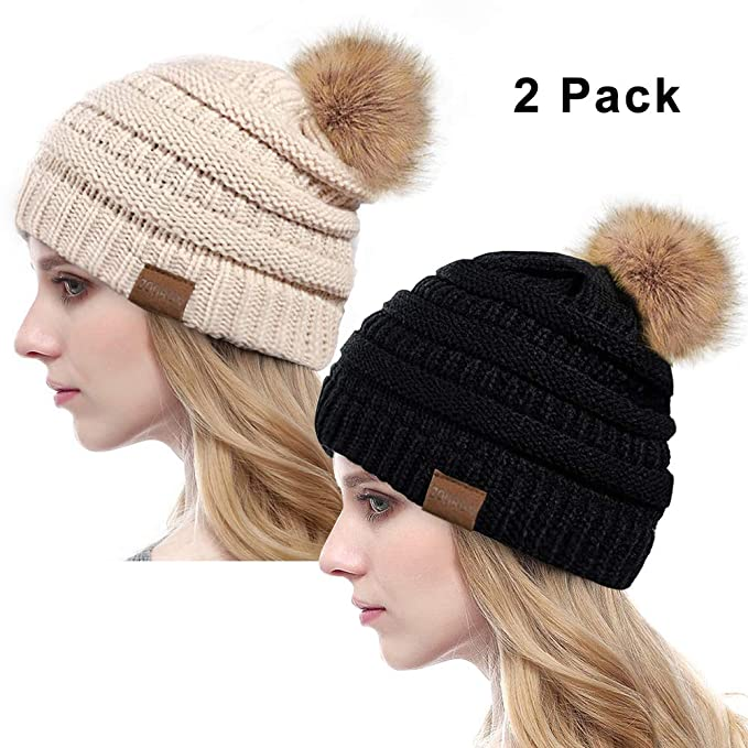 e67a868b7 ZOORON Women Winter Knit Slouchy Beanie, Chunky Baggy Hat with Faux Fur  Pompom, Soft Stretch Cable Cap (c-Black and Beige)
