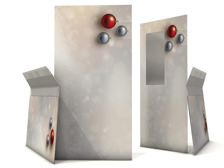 50 fogli A4 e 50 buste senza finestra Set di carta da lettere natalizia con palline di natale rosse e argento