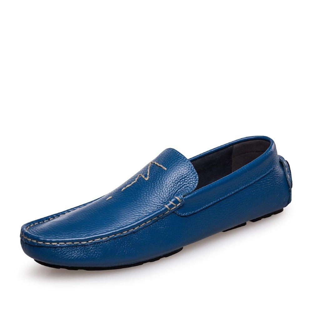 HUAN Zapatos de Hombre de Cuero Primavera Verano Suela Ligera Mocasines y Slip-Ons Para Zapatos de Conducción Informales Azul, Marrón 44 EU|Blue