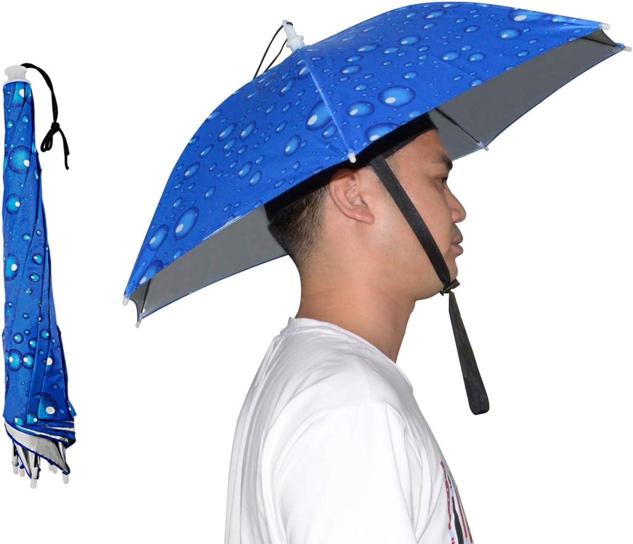 NEW-Vi Umbrella Hat Adult and Kids Folding Cap for Beach Fishing Golf Party Headwear (Blue 2 Pcs)