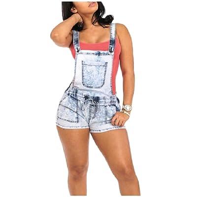 2758d86fcab Abetteric Women Shorts Shortalls Jeans Denim Washed Bib Overalls Pants