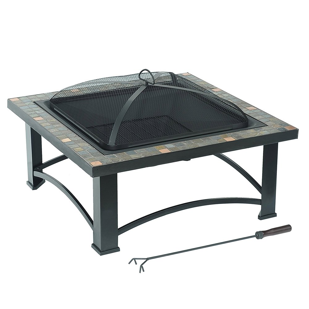 Sunjoy Square Fire Pit with Slate Platform-Top