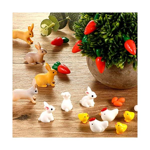 124 pieces easter miniature decorations bunny fake carrots rabbits resin chick eggs bonsai ornament set for home fairy garden landscape diy home decor