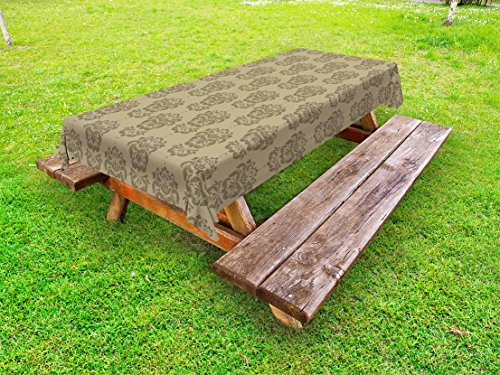(Lunarable Damask Outdoor Tablecloth, Old Textured Floral Flower Motif with Scroll Lines and Petal Ancient Artsy Print, Decorative Washable Picnic Table Cloth, 58 X 84 inches, Cocoa Sepia)