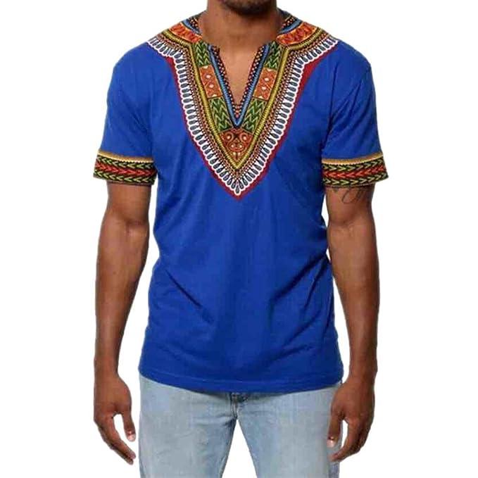 OVERDOSE Mode Männer Slim Fit V-Ausschnitt Afrikanischen Gedruckt Muskel T-Shirt  Casual Tops